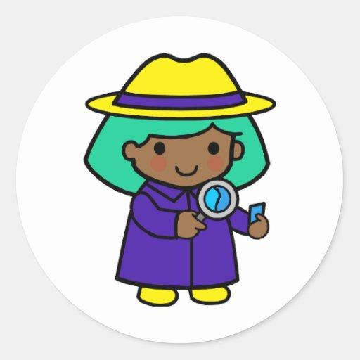 Investigator girl round sticker