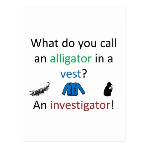 Investigator Joke Postcard