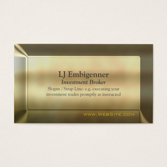 Investment Broker luxury gold-effect Business Card
