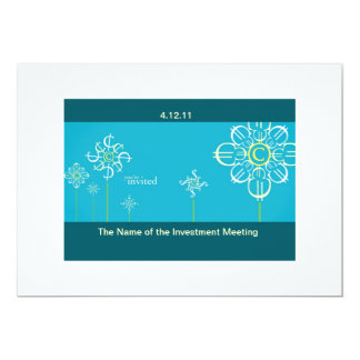 "Investment Meeting Invitation Card 5"" X 7"" Invitation Card"