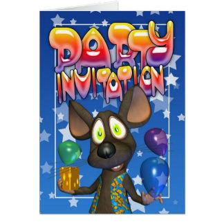 Inviation del fiesta con los globos coloridos del tarjeta de felicitación