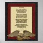 Invictus, cuero del poema con el águila póster