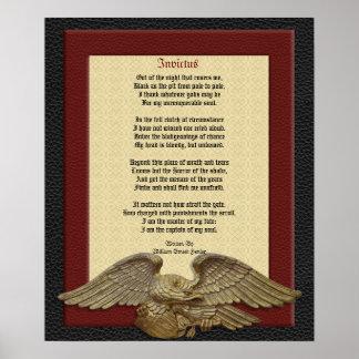 Invictus, cuero del poema con el águila poster
