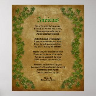 Invictus, poema del Victorian en el pergamino con  Póster