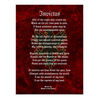 Invictus, Victorian poem black eagle Poster