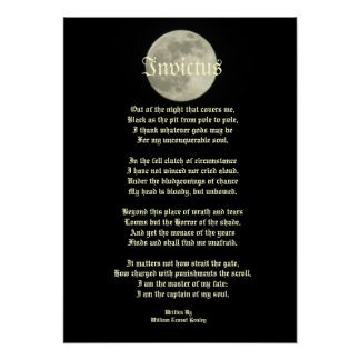 Invictus Victorian poem on image of the moon Poster