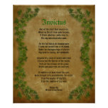 Invictus, Victorian poem on parchment with ivy Poster