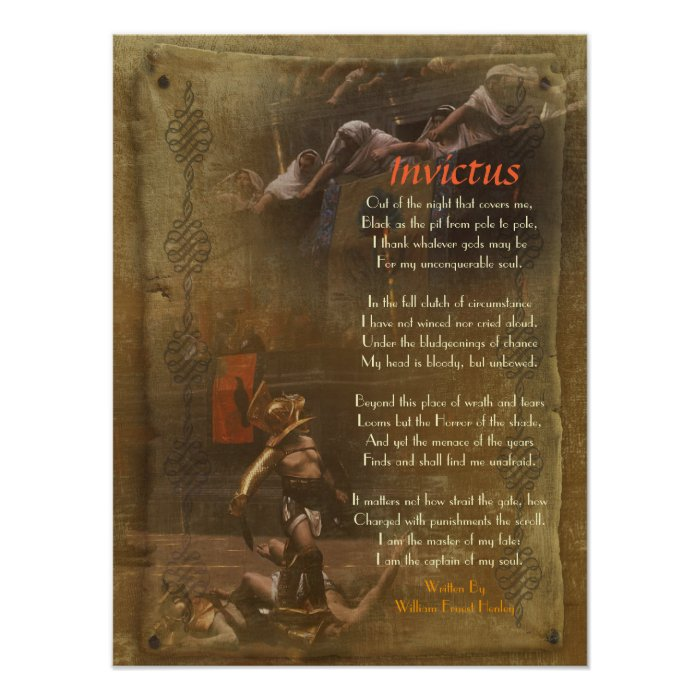 invictus  victorian poem  william ernest henley poster