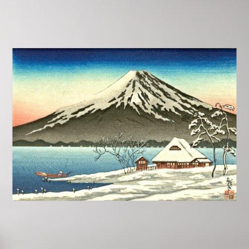 Invierno 1890 del monte Fuji Póster