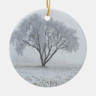Invierno 2010 adorno navideño redondo de cerámica