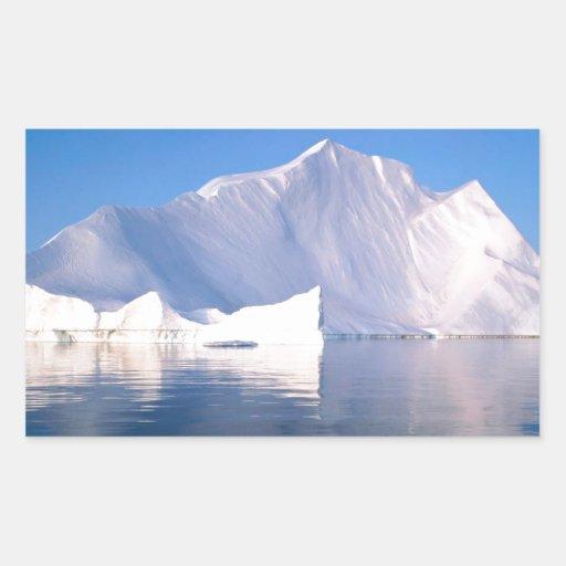 Invierno a través de los icebergs rectangular pegatinas