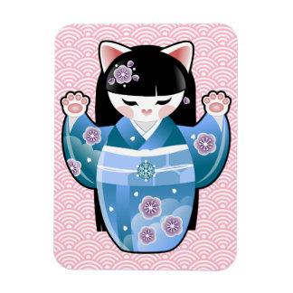 Invierno afortunado japonés del gato de Kokeshi Iman De Vinilo