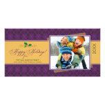 Invierno Argyle buenas fiestas Photocard (púrpura) Tarjeta Fotográfica Personalizada