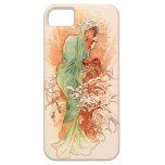 Invierno - arte Nouveau de Alfonso Mucha iPhone 5 Case-Mate Cárcasa