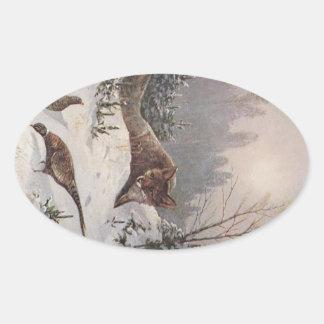 Invierno astuto de los faisanes de la caza de Fox Calcomanías Ovales