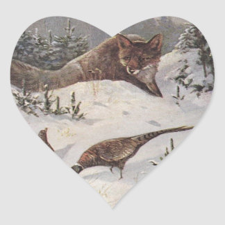 Invierno astuto de los faisanes de la caza de Fox Colcomanias De Corazon Personalizadas