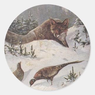 Invierno astuto de los faisanes de la caza de Fox Pegatina Redonda