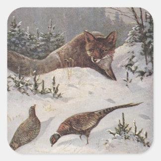 Invierno astuto de los faisanes de la caza de Fox Calcomania Cuadradas