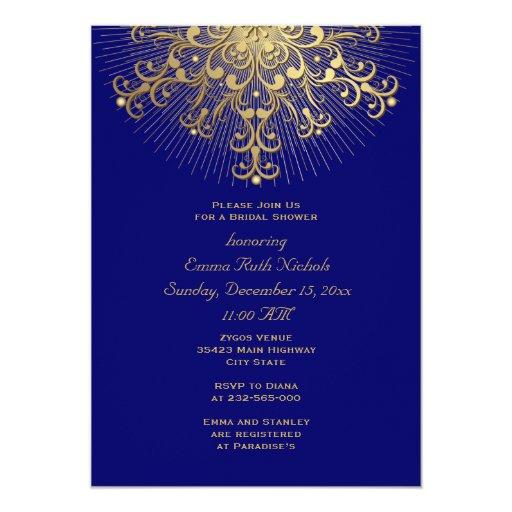 Invierno azul del copo de nieve del oro que casa invitación 12,7 x 17,8 cm