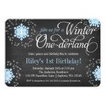 Invierno azul Onederland de la pizarra de los Invitaciones Personales
