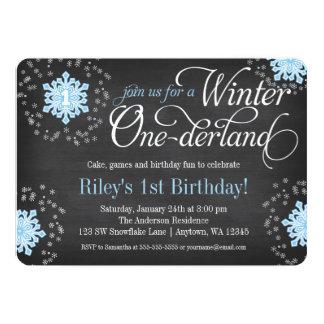 """Invierno azul Onederland de la pizarra de los Invitación 5"""" X 7"""""""