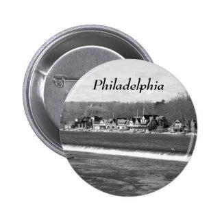 Invierno b w de la fila del Boathouse Pins