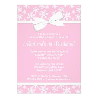 Invierno blanco rosado ONEderland del arco de los Invitaciones Personales