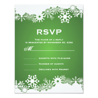 Invierno blanco verde del copo de nieve que casa invitación personalizada