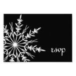 Invierno blanco y negro del copo de nieve que casa comunicado personalizado