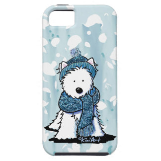 Invierno brillante Westie iPhone 5 Case-Mate Funda