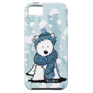 Invierno brillante Westie iPhone 5 Carcasas