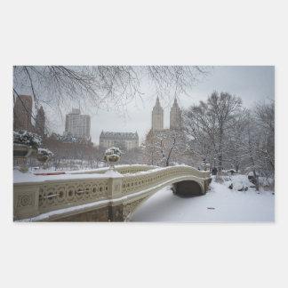 Invierno - Central Park - New York City Pegatina Rectangular