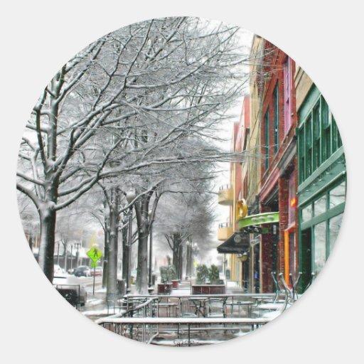 Invierno céntrico pegatinas redondas
