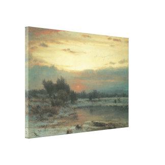 Invierno cierre del día un cielo del invierno impresiones en lienzo estiradas