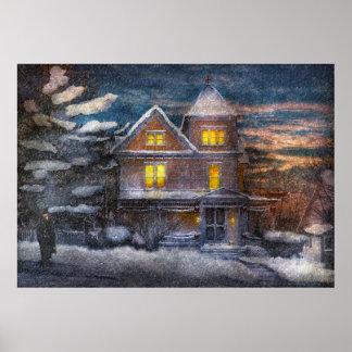 Invierno - Clinton NJ - navidad de un Victorian Posters