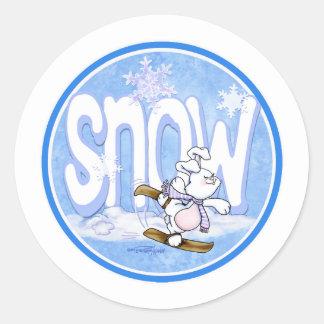 Invierno - conejito de la nieve pegatina redonda