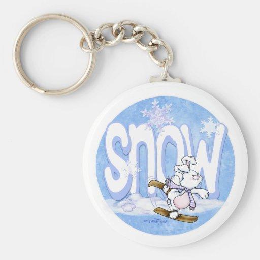 Invierno - conejito lindo de la nieve llavero redondo tipo pin