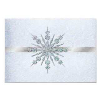 """Invierno cristalino de los copos de nieve que casa invitación 3.5"""" x 5"""""""