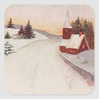 Invierno cristiano de la nieve de la iglesia pegatina cuadrada