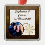 Invierno de encargo personalizado Brown/estrellas  Ornaments Para Arbol De Navidad
