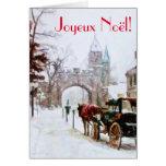 Invierno de Joyeux Noel en francés Francais de la Tarjeta De Felicitación