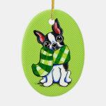 Invierno de la bufanda de la tela escocesa de Bost Ornamento Para Arbol De Navidad