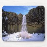 Invierno de la cascada de Svartifoss Alfombrilla De Raton