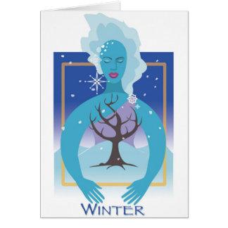 Invierno de la tierra de madre tarjeta de felicitación