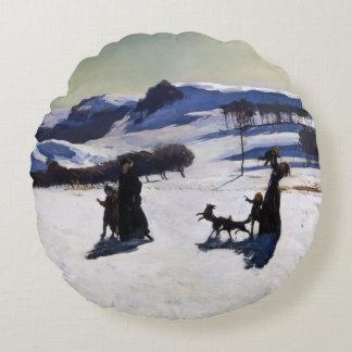 Invierno de los campos de nieve en el Berkshires Cojín Redondo
