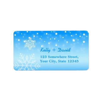 Invierno de los copos de nieve que casa etiquetas etiqueta de dirección