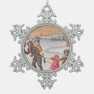 Invierno de los niños del secuestro de Krampus Adorno De Peltre En Forma De Copo De Nieve