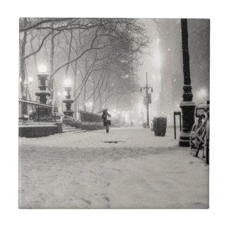 Invierno de Nueva York - noche Nevado - parque de  Azulejo Cuadrado Pequeño