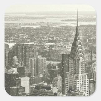 Invierno de Nueva York Pegatina Cuadrada