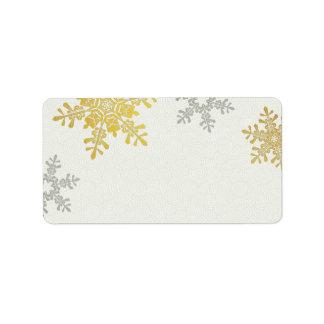 Invierno de plata del copo de nieve del oro que ca etiqueta de dirección